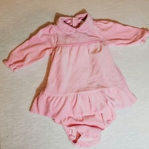 Children place 12M pink velvet dress w/panties
